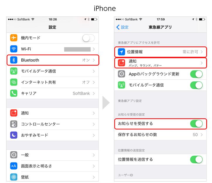 アプリのプッシュ通追設定、位置情報設定、端末のBluetooth設定をオンにしてください。